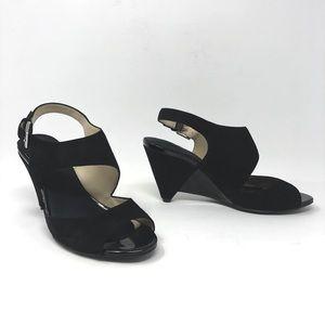 INC Black Genuine Suede Wedges Sandals 5.5